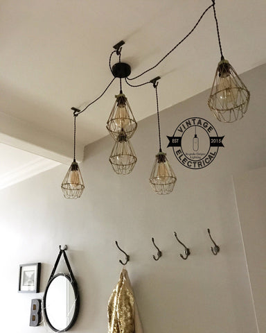 The Cantley 5 x cage pendant hanging drop lights ceiling dining kitchen table vintage edison filament e27 lamps