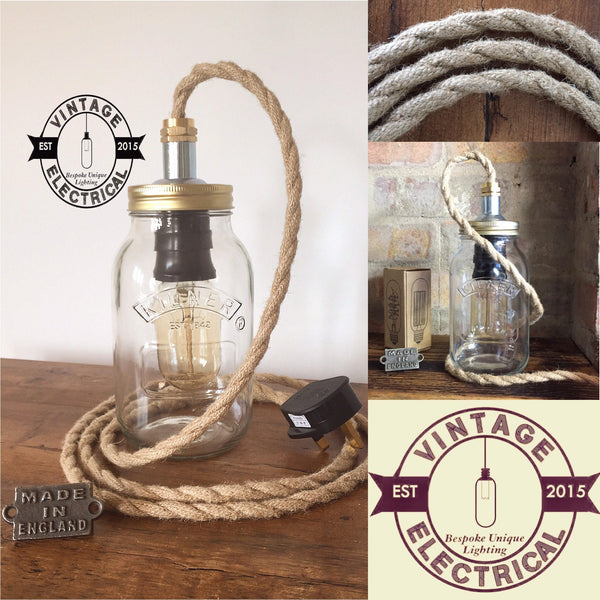 The Kirby Kilner Rope mason Jar table light industrial vintage edison filament lamp uk plug brass rustic shabby chic cord e27 es screw lamp