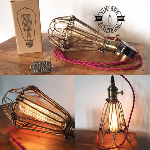 The Hemsby Vintage Cage light burgundy twisted fabric 2 metres of cable table inspection lamp reading bedside rustic chabby chic + filament