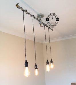 Paston ~ 4 x Industrial Pendant Set | Ceiling Dining Room | Kitchen Table Hanging Light | Vintage 4 x Edison Filament Bulbs