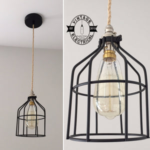 Caston ~ Black Industrial Pendant Set Cage Light | Ceiling Dining Room | Kitchen Table | Vintage 1 x Edison Filament Bulb