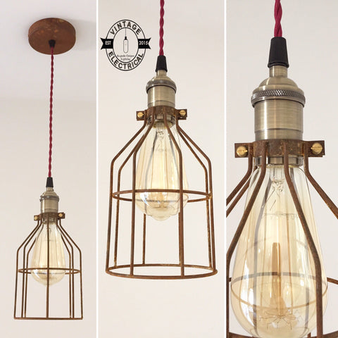 The Caston Rusted Cage industrial ceiling light edison lamp vintage twisted cable