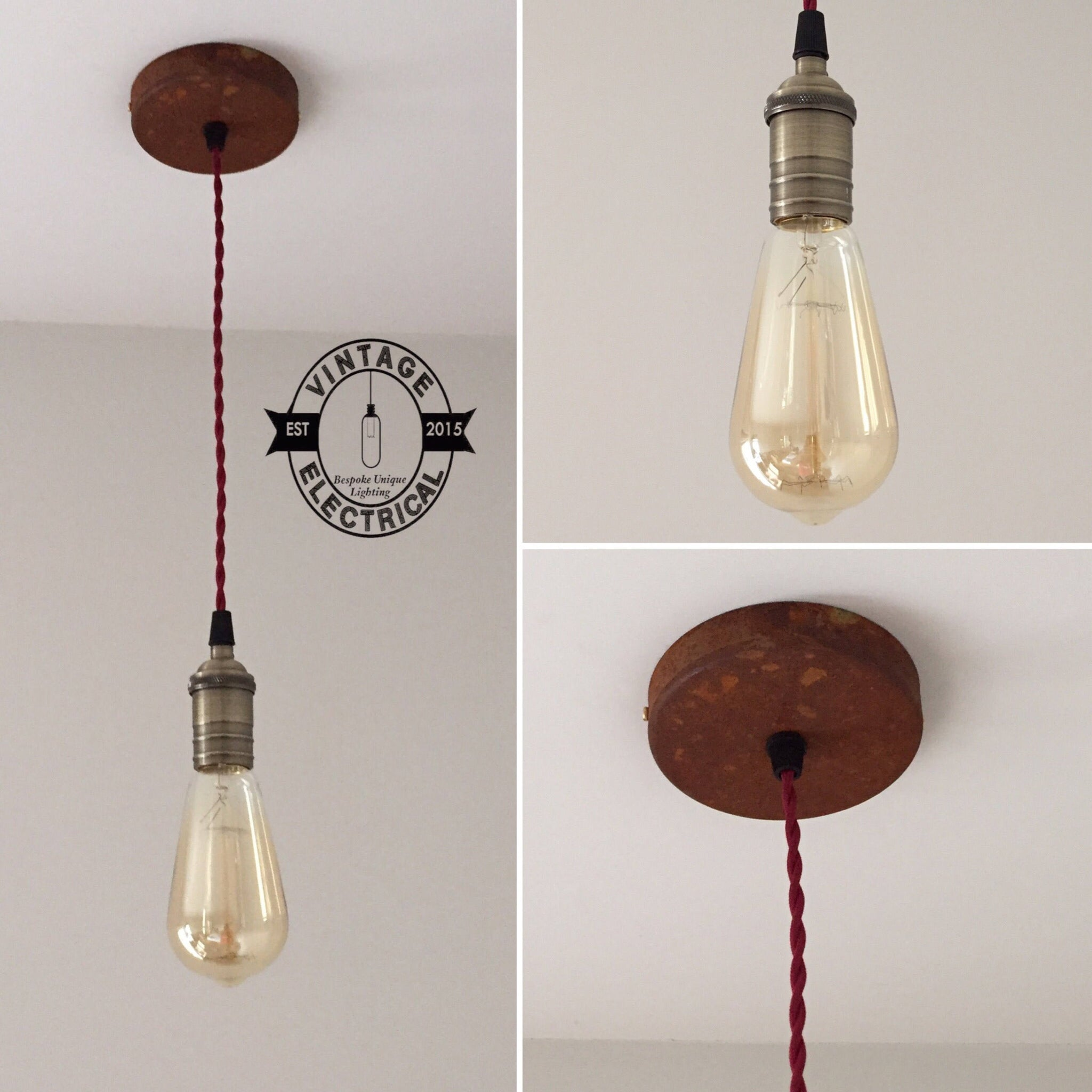 Martham ~ Industrial Single Pendant Set | Ceiling Dining Room | Kitchen Table Hanging Light | Vintage 1 x Edison Filament Bulb