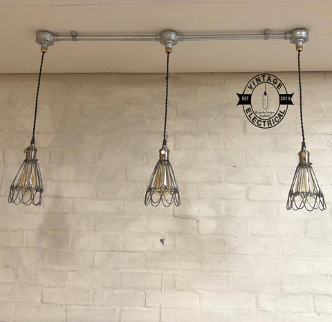Hemsby ~ 3 x Raw Steel Industrial Pendant Set Cage Light | Ceiling Dining Room | Kitchen Table | Vintage 3 x Edison Filament Bulbs