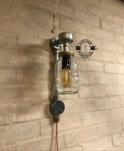 The Glandford Kilner mason jam jar wall light cable fitting retro vintage lamps steampunk metal handcrafted plug in