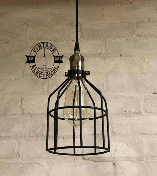 Crownthorpe ~ 5 x Black Enamel Industrial Pendant Set Cage Light | Ceiling Dining Room | Kitchen Table | Vintage 5 x Edison Filament Bulbs