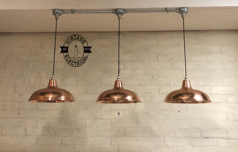 Sedgeford ~ 3 x Solid Copper Industrial Shade Pendant Set Light | Ceiling Dining Room | Kitchen Table | Vintage 3 x Edison Filament Bulbs