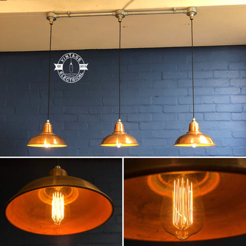 Salthouse ~ 3 x Antique Steel Industrial Shade Pendant Set Light | Ceiling Dining Room | Kitchen Table | Vintage 3 x Edison Filament Bulbs