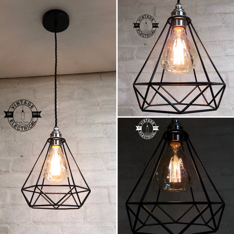 The Blakeney Diamond Single Drop Cage Ceiling Light edison Pendant Drop lamp vintage twisted cable + Filament Lamp Included