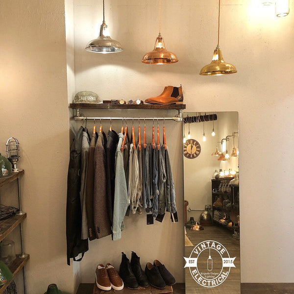 Cranworth Industrial Clothes Rail With Vintage Style Shelf Solid Metal Hallway Coat Rack Wardrobe Solution Shoe
