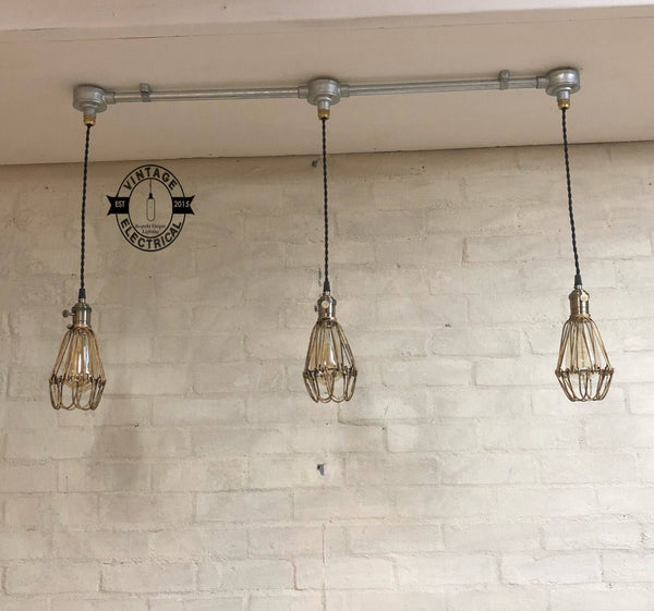 The Hemsby 3 x Antique Brass Steel Solid Cage Industrial hanging ceiling table drop light fitting vintage filament lamps cafe bar decor