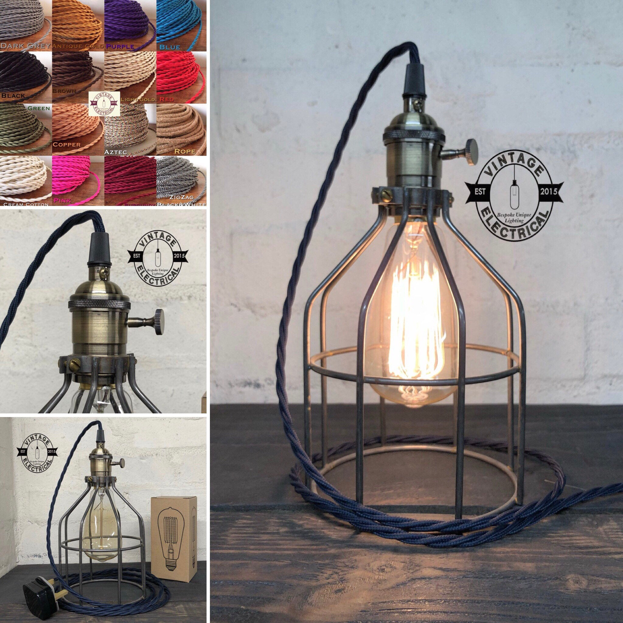 The Caston Cage Raw Steel table light vintage brass style holder with switch fabric 2 metres of cable inspection lamp reading bedside