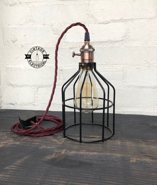 The Caston Cage Solid Table Lamp light vintage copper style holder with switch fabric 2 metres of cable table inspection reading bedside