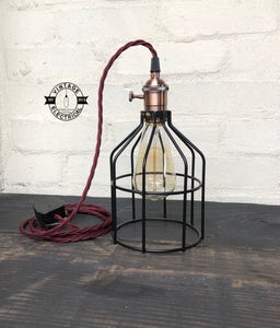 The Caston Cage light gold vintage twist fabric 2 metres of cable table inspection lamp reading bedside rustic + filament lamp