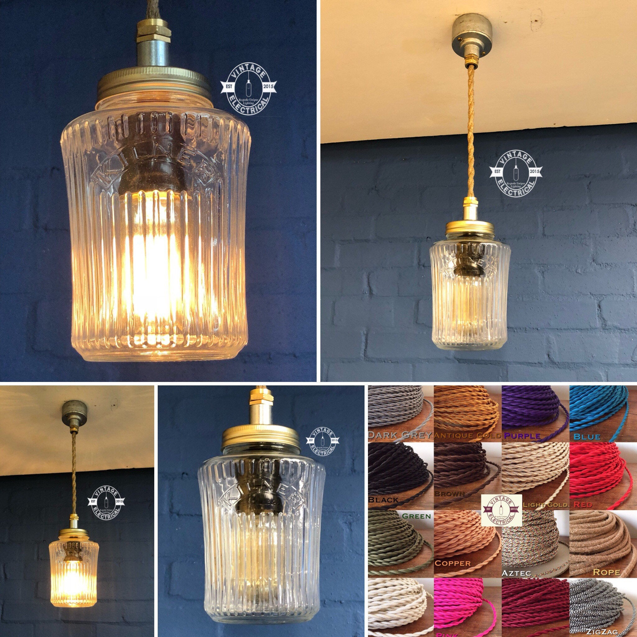 The Kilner Vintage mason jam jar drop light cable fitting retro vintage lamps metal kitchen pendant