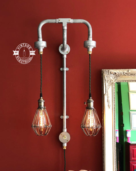 The Brundall Twin Cage industrial wall light restaurant bar pub 2 x e27 screw edison filament bulbs included rustic retro