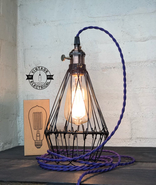 Cromer ~ Black Cage light vintage twisted fabric 2 metres of cable table inspection lamp reading bedside rustic chabby chic + filament bul