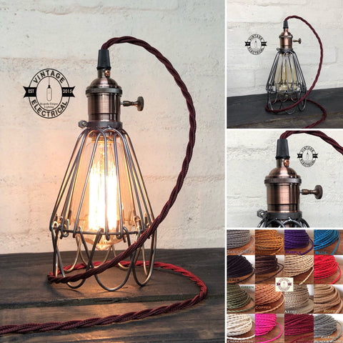 The Hemsby Cage Raw Steel Table Lamp  Antique Copper Bulb Holder Vintage Twist Fabric 2 Metres Cable Reading Light Bedside Rustic & Filament