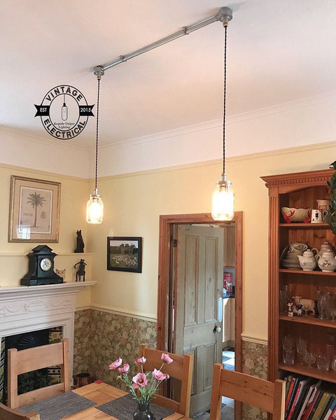 The Kenninghall 2 x Kilner hanging mason  jar lights ceiling dining room office kitchen table vintage edison filament lamps pendant