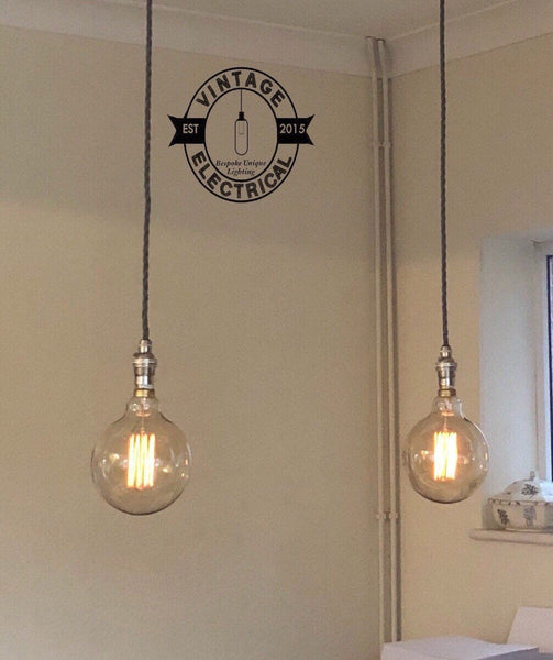 Heacham ~ 2 x Industrial Pendant Set | Ceiling Dining Room | Kitchen Table Hanging Light | Vintage  x 2 XL Edison Filament Bulbs
