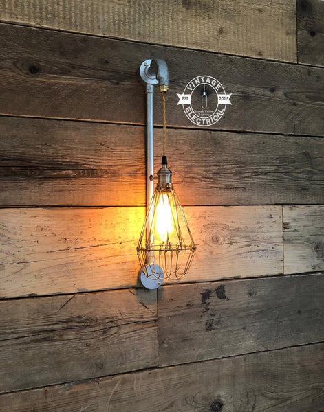 The Clippesby Cage Wall Light Industrial Vintage fitting eddison filament lamps steampunk bar pub shop boutique