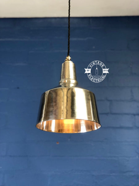 Anmer ~ Solid Polished Industrial Shade Pendant Set Light | Ceiling Dining Room | Kitchen Table | Vintage 1 x Edison Filament Bulb