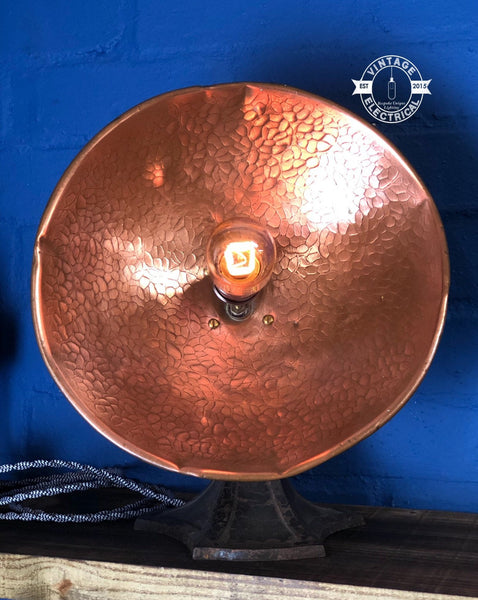Converted 1940's Heat Lamp ~ Copper light ~ vintage twist fabric 2 metres ~ table inspection lamp reading bedside rustic dimmer switcth