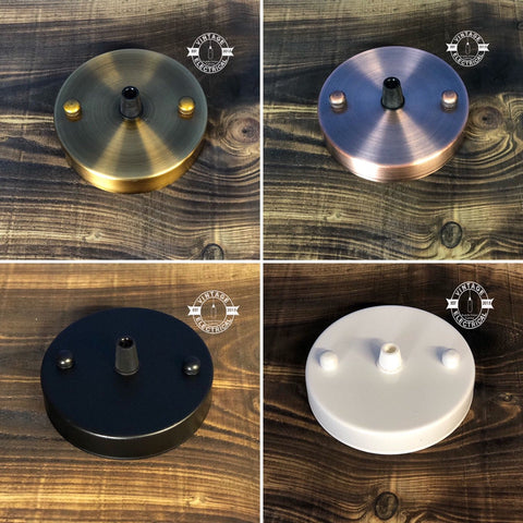 Metal Ceiling Rose Vintage Retro Style Light Fitting 4 Styles ~ Black ~ White ~ Antique  Brushed Copper Or Brass ~ Single Outlet