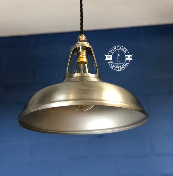 The Cawston 3 x Solid Brushed Steel Grey Coolicon industrial factory shade light ceiling dining room kitchen table vintage edison filament l
