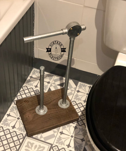 Handcrafted Industrial Freestanding 4 Roll Toilet Paper Holder Rail | Plumbing | Iron | Pipe | Steel
