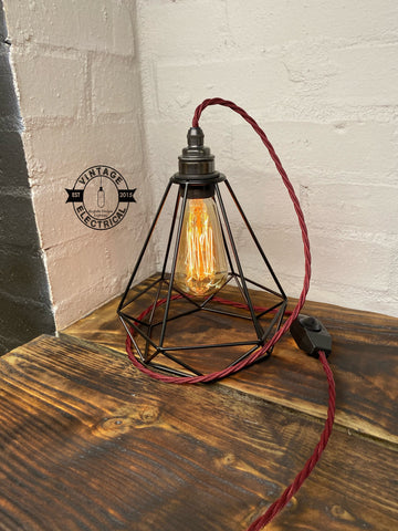 The Blakeney Diamond Cage Black Steel lamp light vintage twist fabric 2 metres of cable table reading bedside rustic & filament lamp