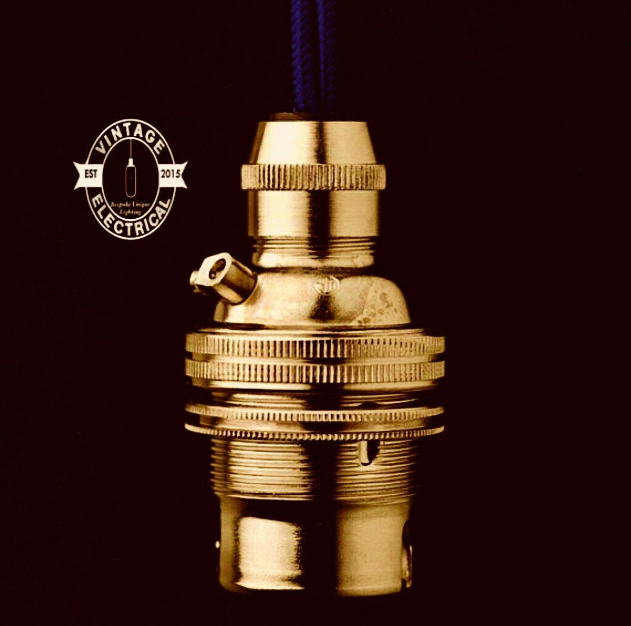 Solid Brass Pendant Lampholder | Bayonet B22 Fitting With Cable Grip