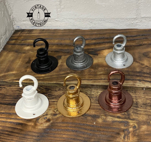 Holkham ~ Hook solid industrial ceiling hook rose hanging clothes light vintage copper black white galvanised plant hanger