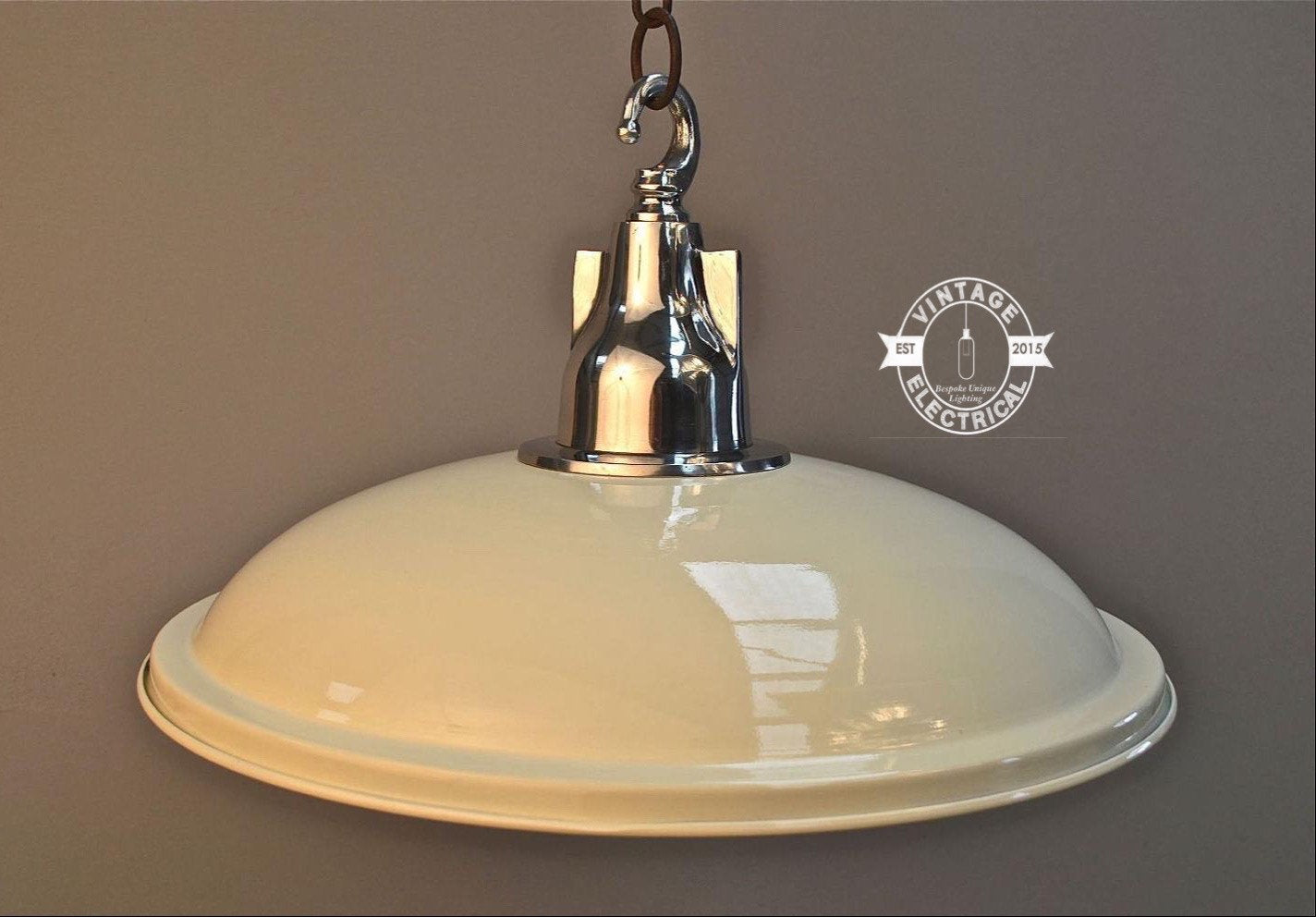 Bircham ~ Cream French Style Industrial Shade Pendant Set Light | Ceiling Dining Room | Kitchen Table | Vintage 1 x Edison Filament Bulb