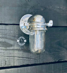 Happisburgh ~ Solid Polished Nickel Bulkhead Industrial Wall Light | Bathroom | Outdoor Garden | Vintage 1 x Edison Filament Bulb