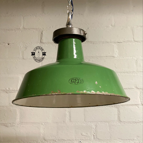 The G.E.C. Green 1926 industrial enamel shade ~ vintage light ~ ceiling dining room kitchen table vintage + edison filament bulb