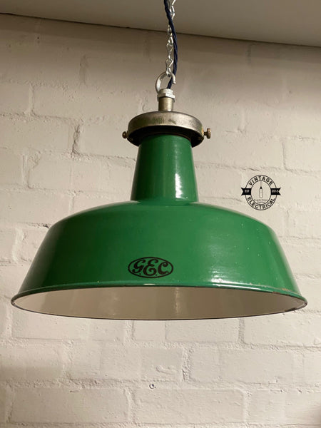 The G.E.C. Green 1930's industrial enamel shade ~ vintage light ~ ceiling dining room kitchen table vintage + edison filament bulb