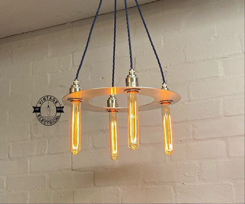 Fincham ~ 4 x Solid Steel Chandelier Industrial Pendant Set Light | Ceiling Dining Room | Kitchen Table | Vintage 4 x Edison Filament Bulb