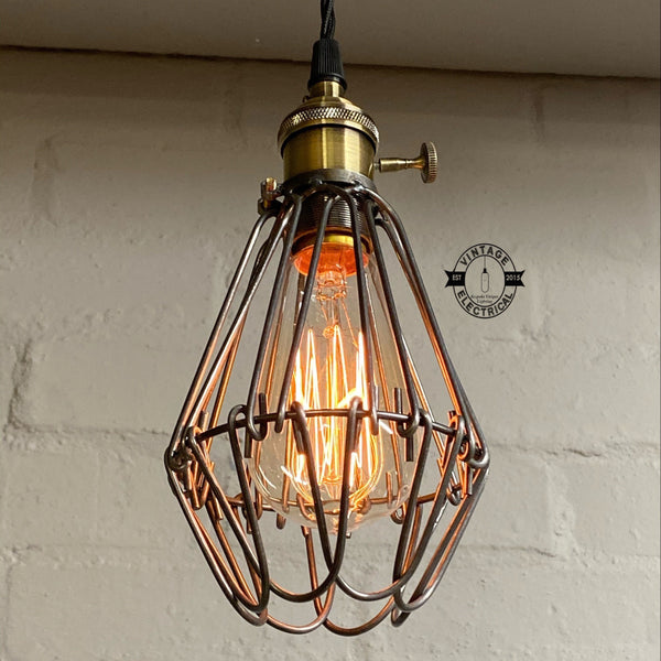 Hemsby ~ Raw Steel Industrial Pendant Set Cage Light | Ceiling Dining Room | Kitchen Table | Vintage 1 x Edison Filament Bulb