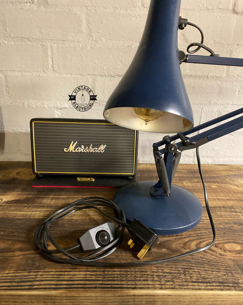 Genuine Anglepoise Blue Table Lamp Model Type 90 Herbert Terry Vintage Cage light inspection reading bedside rustic chabby chic filament