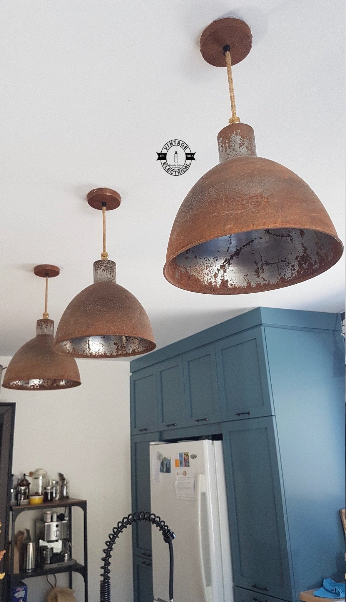 Warham ~ Rusted Solid Steel Industrial Shade Pendant Set Light | Ceiling Dining Room | Kitchen Table | Vintage 1 x Edison Filament Bulb