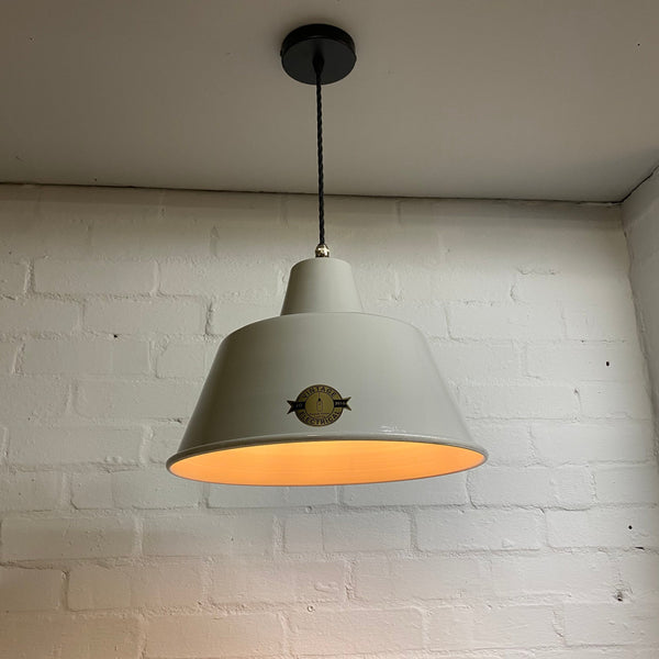 Pentney ~ Grey Industrial factory shade light ceiling dining room kitchen table vintage edison filament lamps pendant bar