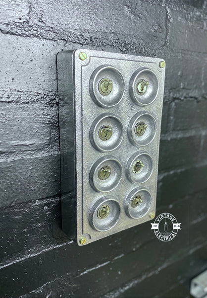 8 Gang 2 Way Solid Cast Metal Light Switch Industrial - BS EN Approved Vintage Crabtree 1950's Style