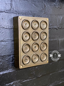 12 Gang 2 Way Bronze Solid Cast Metal Light Switch Industrial - BS EN Approved Vintage Crabtree 1950's Style