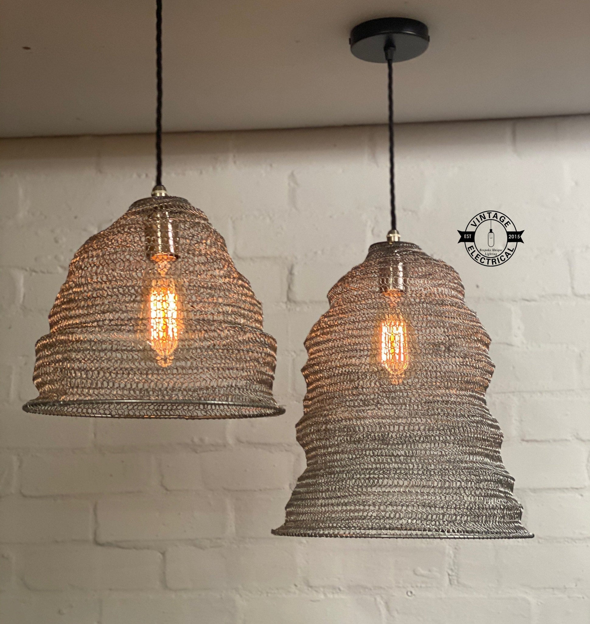 Walton ~ Silver Wire Industrial Lampshade Pendant Set Light | Ceiling Dining Room | Kitchen Table | Vintage 1 x Edison Filament Bulb