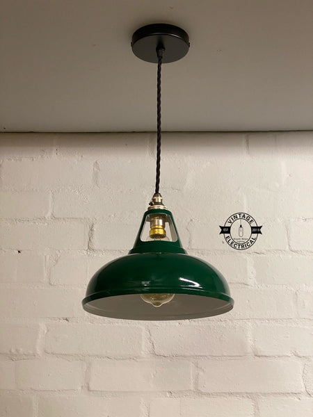 Cawston ~ Small Racing Green Solid Industrial Coolicon Shade Pendant Set Light | Ceiling Dining Room | Kitchen Table | Vintage