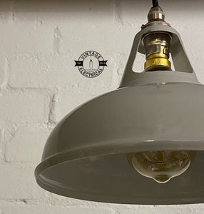 Cawston ~ Original Grey Solid Industrial Coolicon Shade Pendant Set Light | Ceiling Dining Room | Kitchen Table | Vintage 1 x Filament Bulb
