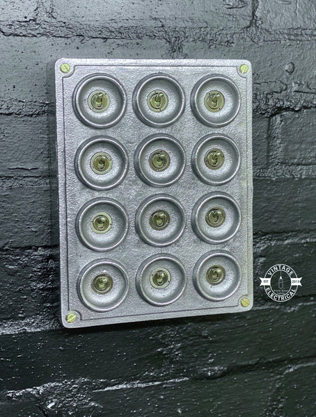 12 Gang 2 Way Solid Cast Metal Light Switch Industrial - BS EN Approved Vintage Crabtree 1950's Style