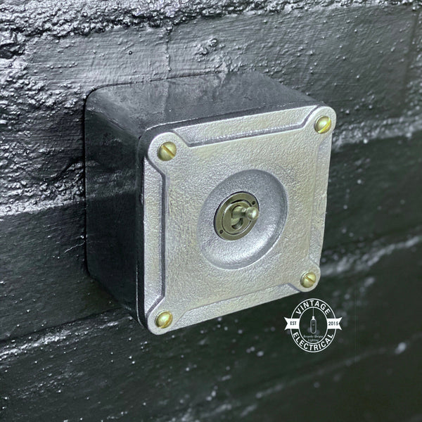 XL Single Gang Solid Cast Metal Light Switch Industrial 2 Way - BS EN Approved Vintage Crabtree 1950's Style