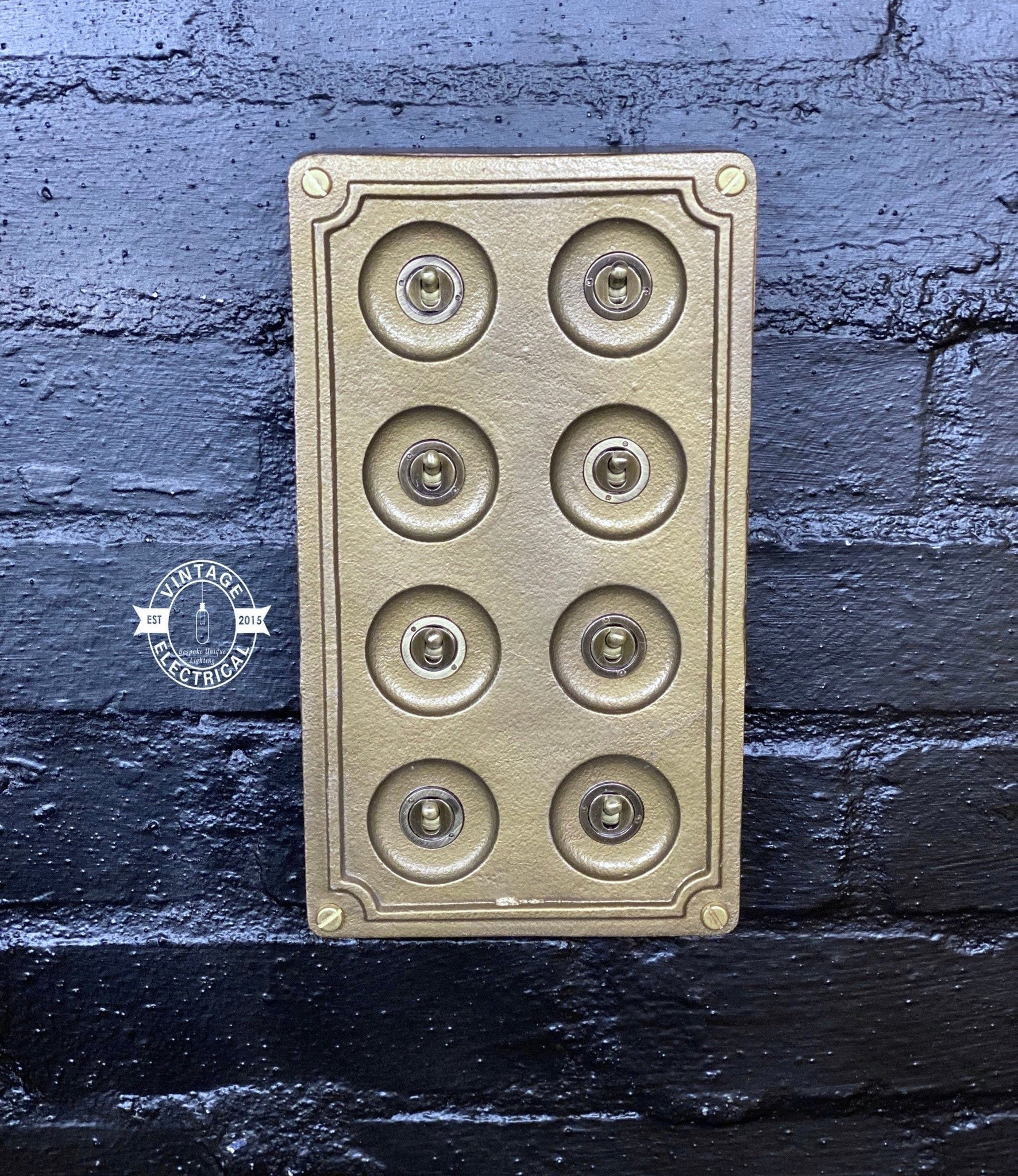 8 Gang 2 Way Bronze Solid Cast Metal Light Switch Industrial - BS EN Approved Vintage Crabtree 1950's Style